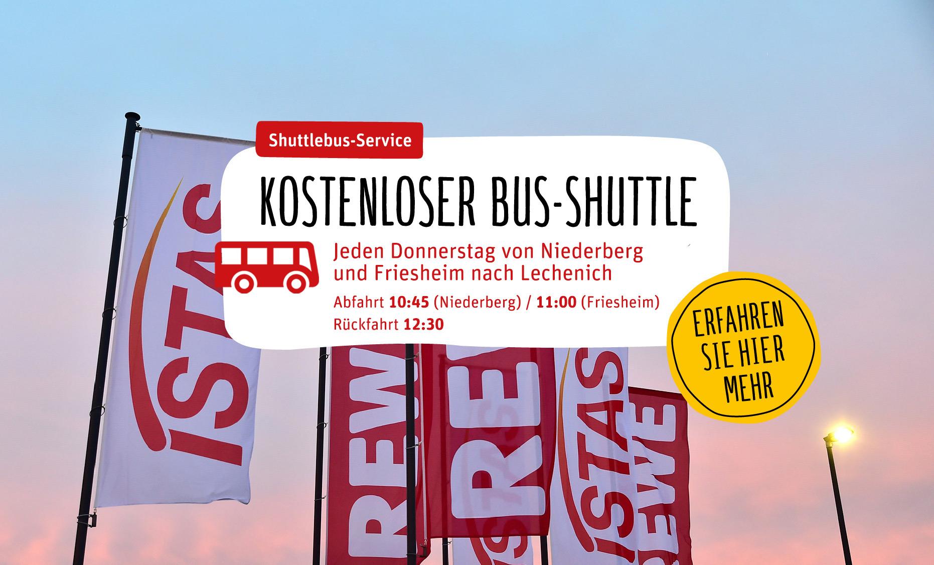 REWE Ingo Istas: Bus-Shuttle von Niederberg und Friesheim